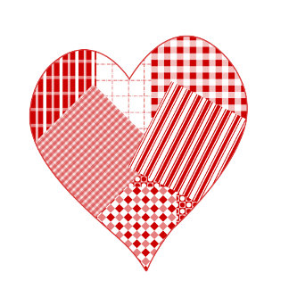 Whimsical patchwork heart t-shirts and gifts.