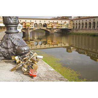 Italy, Florence, Love Locks and Reflections in