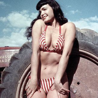Bettie Page Vintage Pinup Girl in Red Bikini