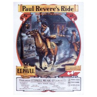 Paul Revere's Ride - Vintage Song Sheet Music Art
