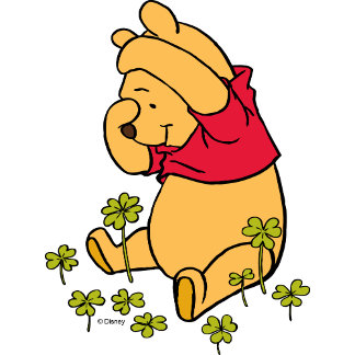 Pooh Playing in a Shamrock Patch