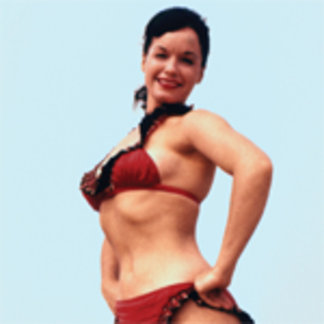Bettie Page Vintage Pinup in Red Bikini Blue Sky
