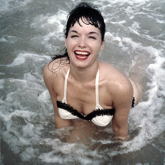 Bettie Page Playing in the Surf at the Beach