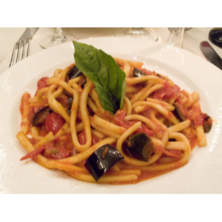 Italy, Positano. Plate of pasta and eggplant.