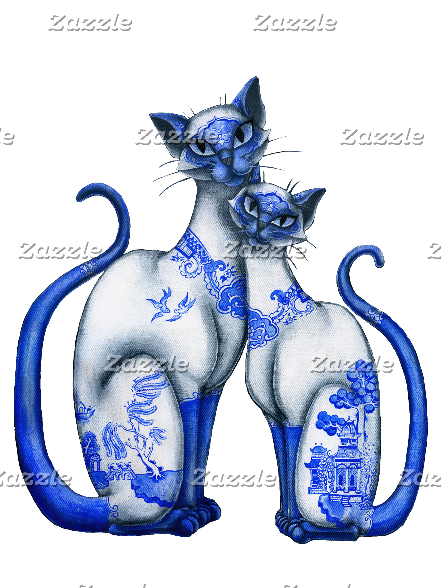 Blue and Red Willow Siamese Cats