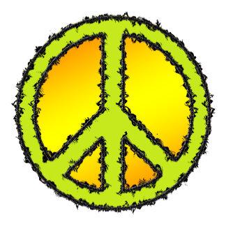 Peace Sign Yellow Green Zig Zag -