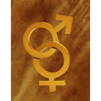 Brass male and female symbols