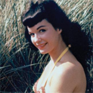 Bettie Page Vintage Pinup in Orange Bikini Dunes
