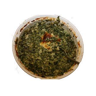 Spinach dip in round dish photo