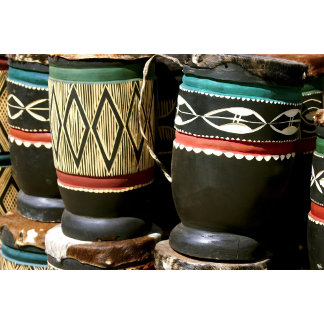 Hand carved drums, Livingston, Zambia