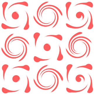 geometric swirl pattern of red and white looks lik