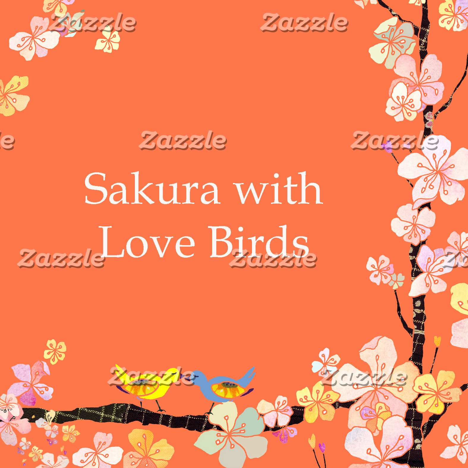 ♥ Cherry Blossom with Love Birds