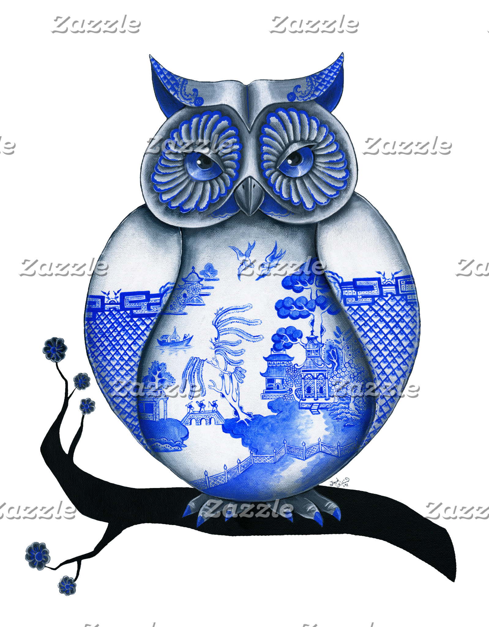 Blue and Red Willow Owl