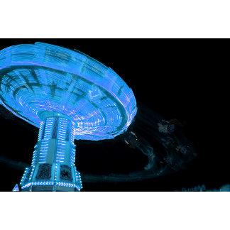 swings ride in blue fair midway carnival image