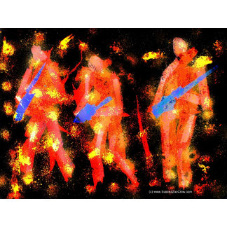 Three musicians tissue paper painting, reddish