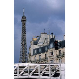 France, Paris, Eiffel Tower behind metro train
