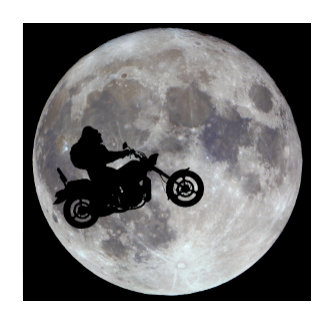 Big foot, big bike and a big bright moon