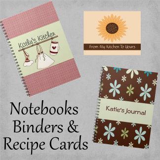 Notebooks. Binders & Recipe Cards