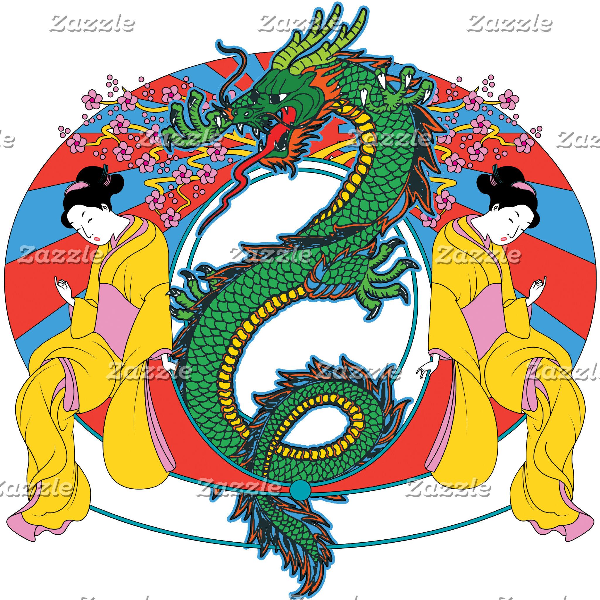 Geishas with Dragon