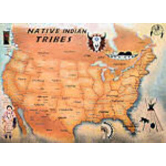 US Native Tribes Map Poster
