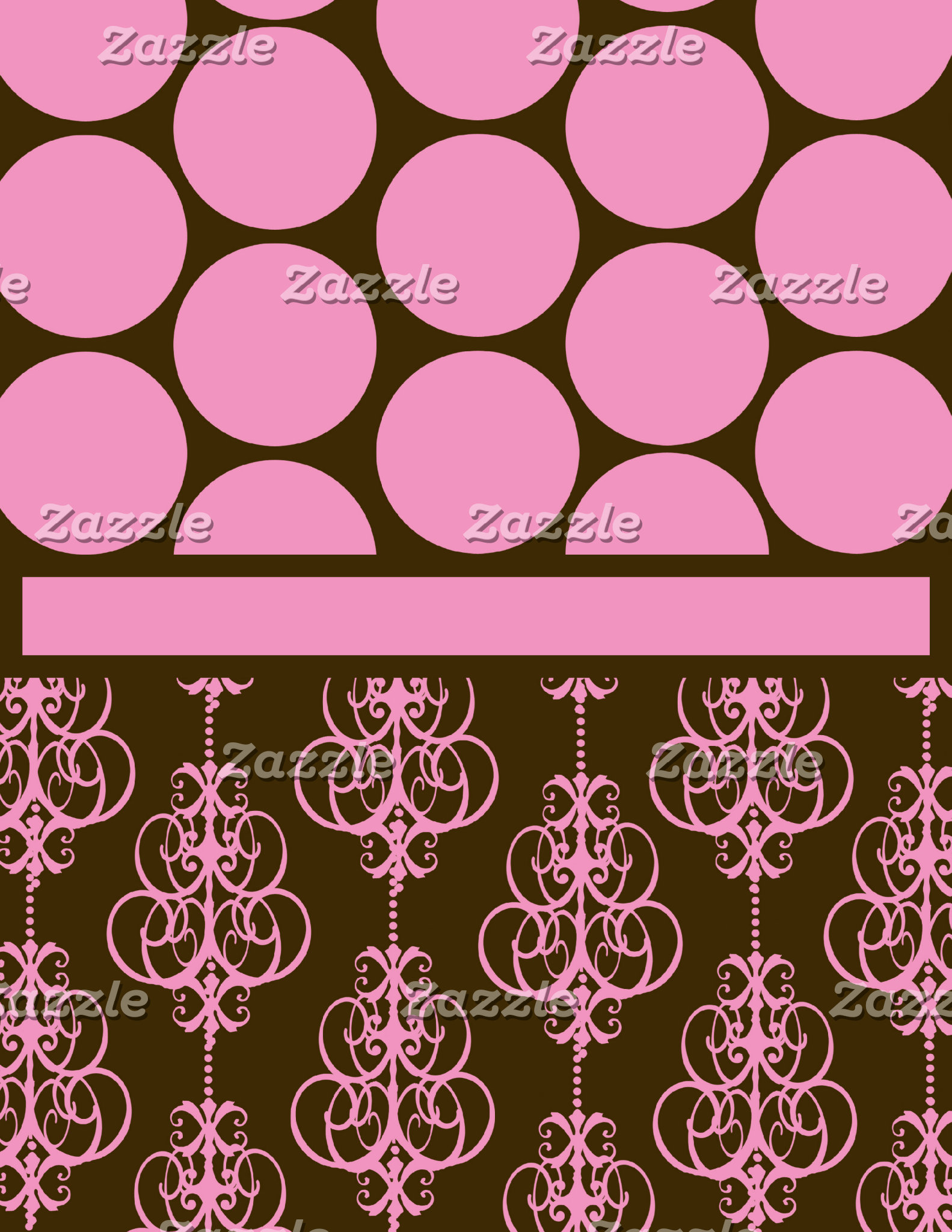 Polka Dot and Damask in Pink and Brown