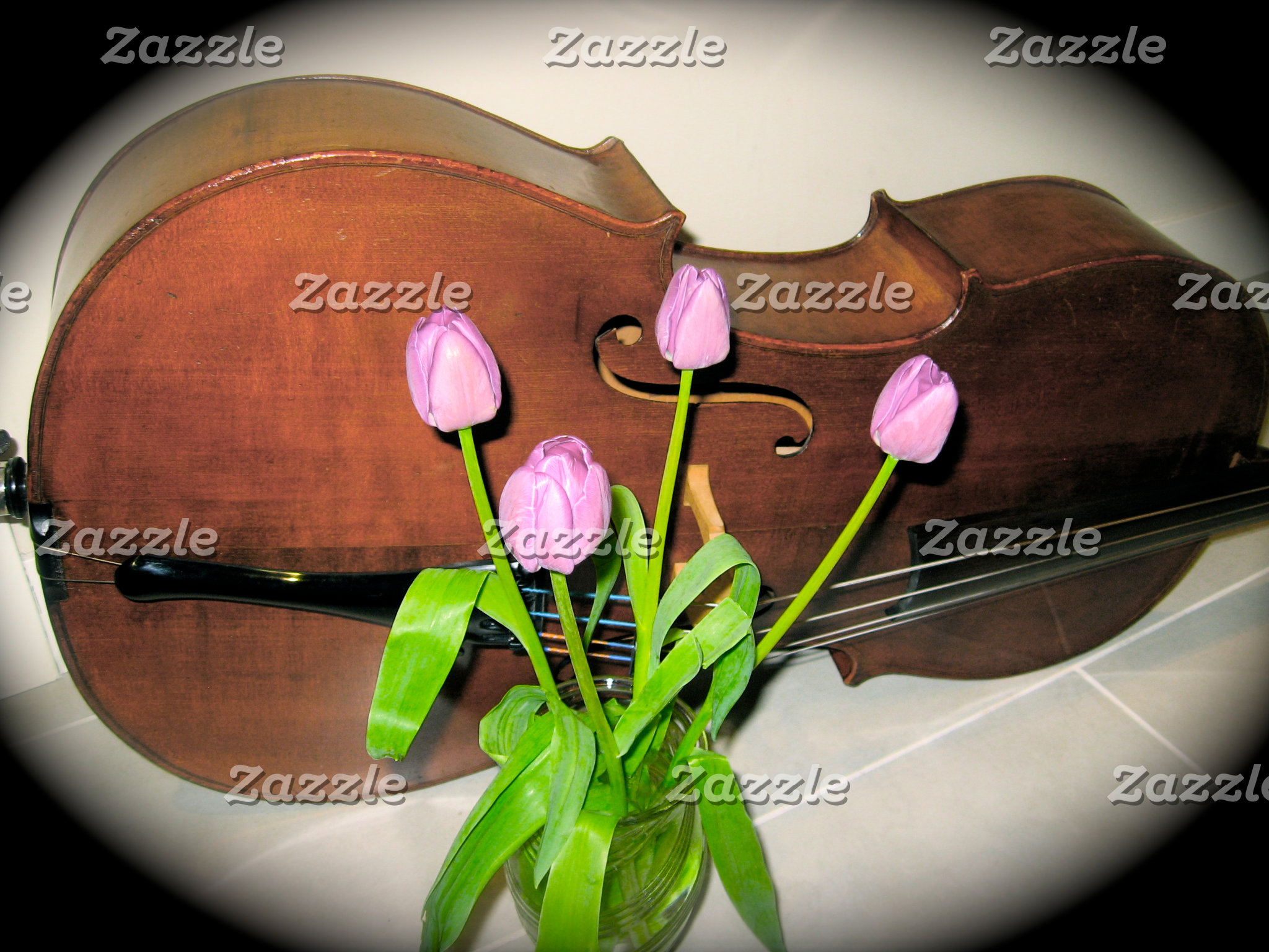 Cello with Tulips