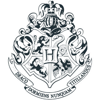 Hogwarts Crest - Black and White