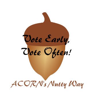 Acorn voting t-shirts and buttons