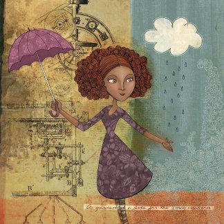 Umbrella Girl Whimsical Garden Illustration