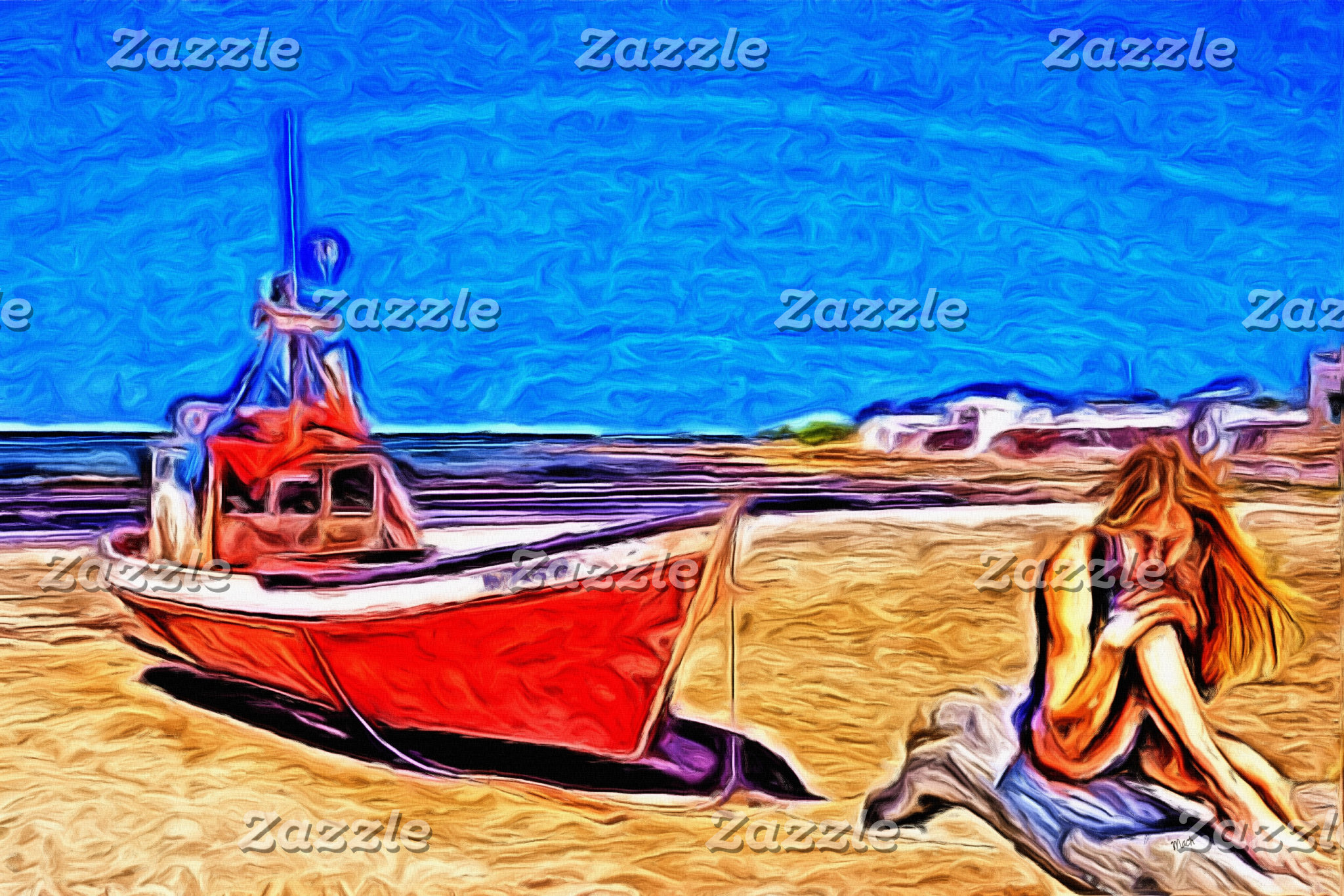 Beached Boat and Girl