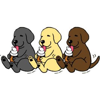 Licking Ice Cream Labradors