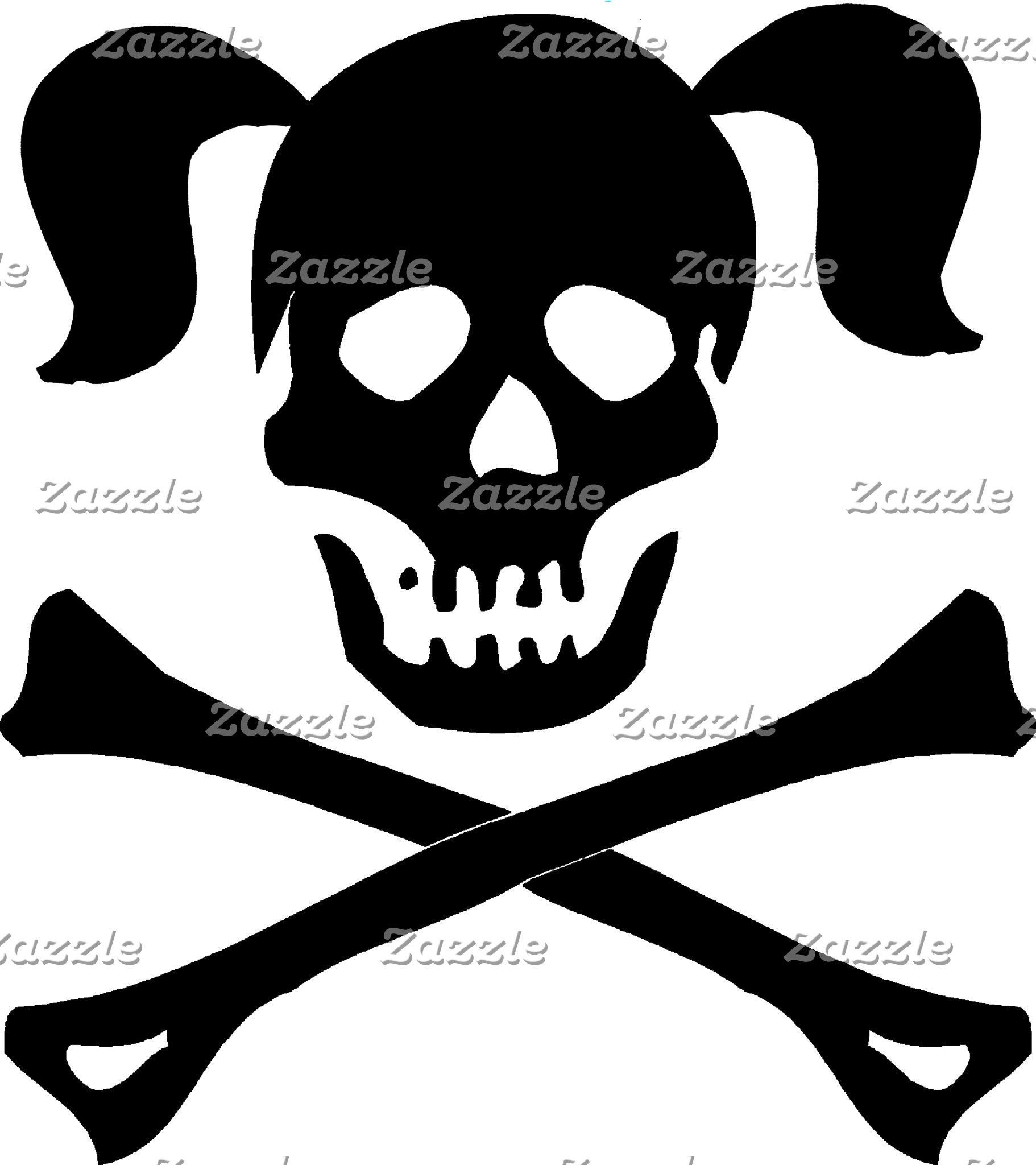 Black Skull & Crossbones With Pigtails T-Shirts