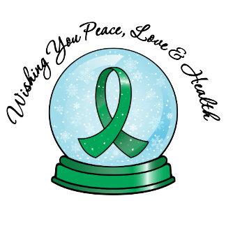Liver Cancer Ribbon Merry Christmas Snowglobe