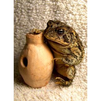 Toad frog holding miniature ceramic udu drum pic