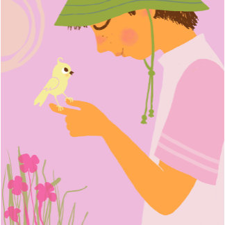 """""""Boy with bird on hand Poster Print"""""""