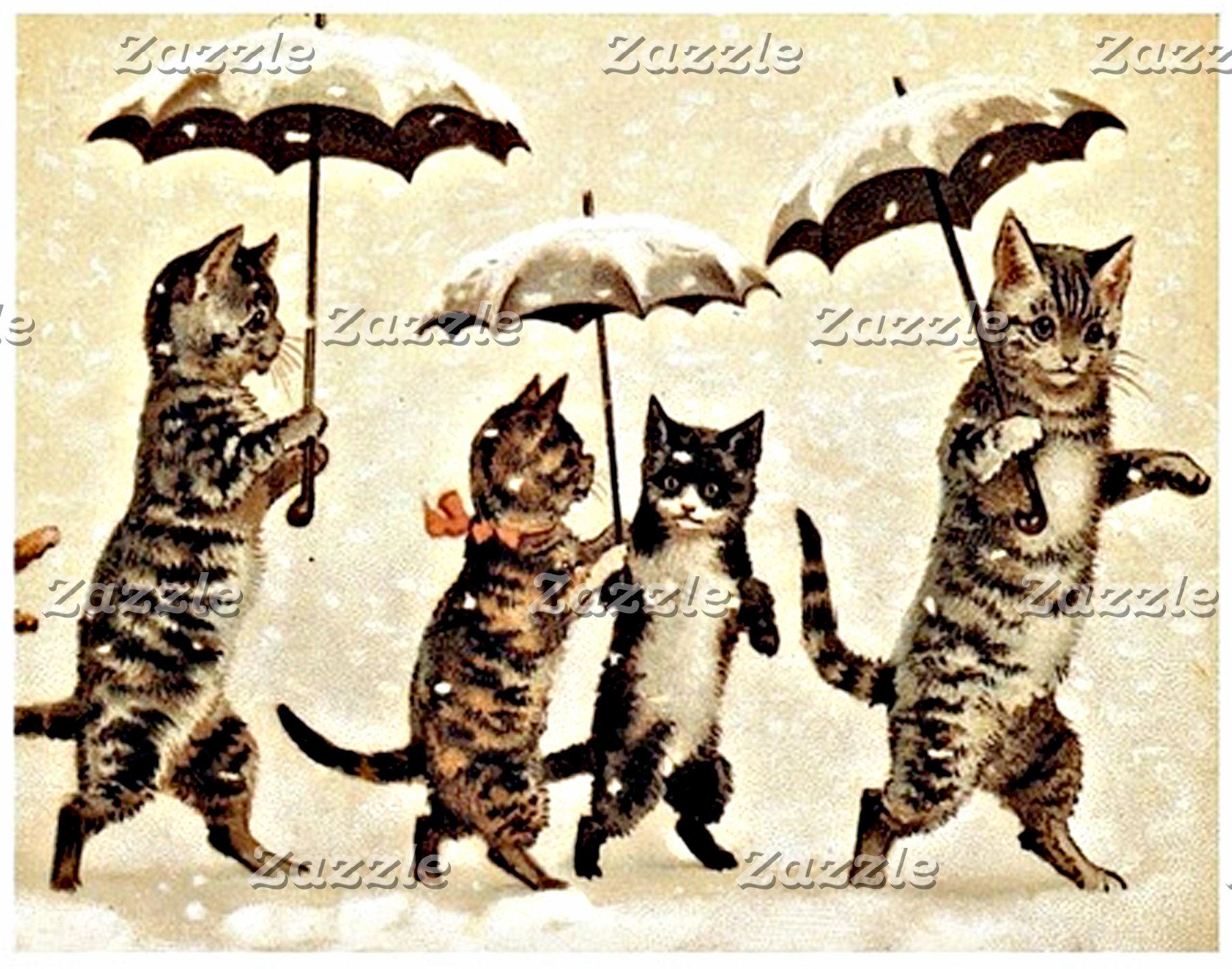 Cats With Umbrellas (Vintage Image)