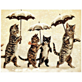 Cats With Umbrellas (Vintage Image)