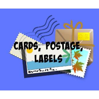 CARDS, POSTAGE, LABELS