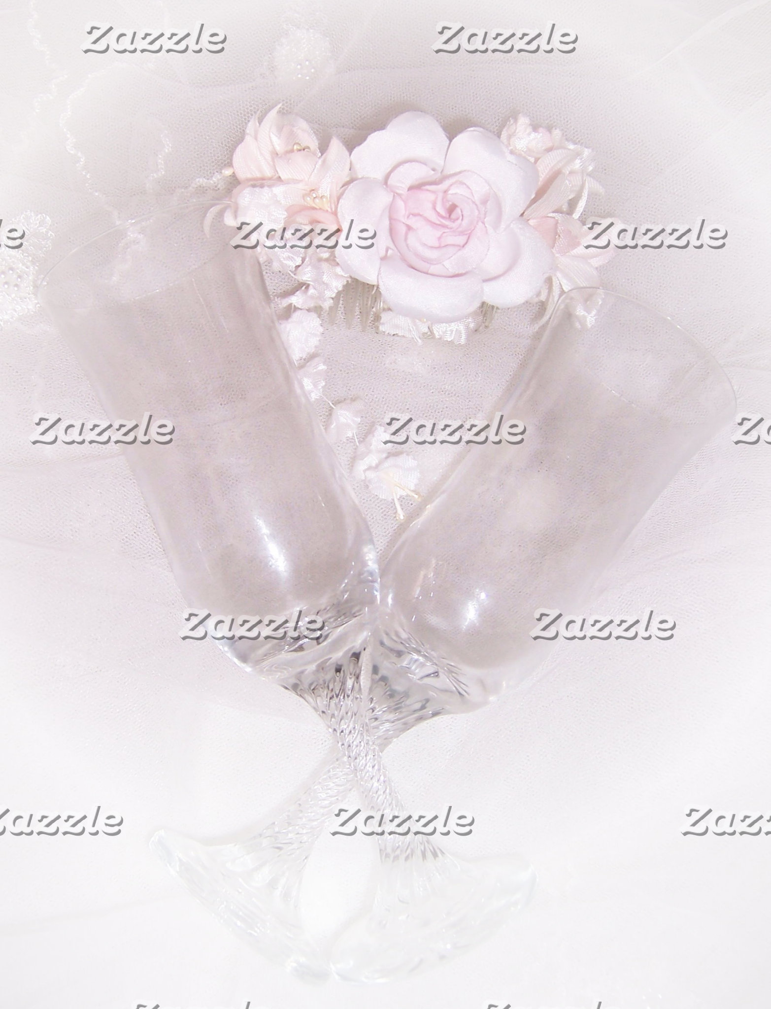 Champagne Flutes And Roses