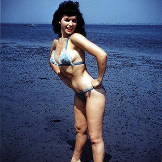 Bettie Page Vintage Blue Bikini Color Pinup
