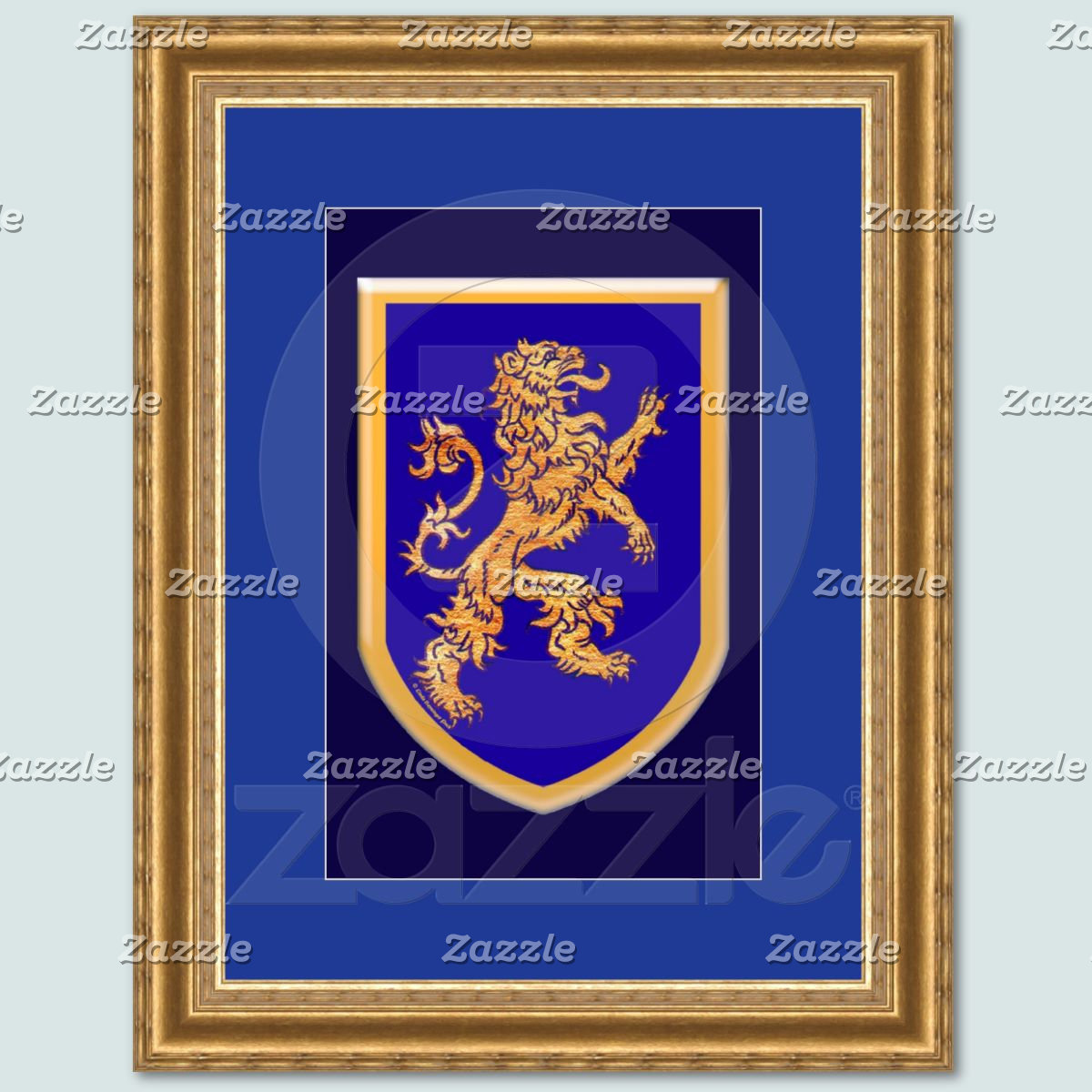 Lion on blue framed print.jpg