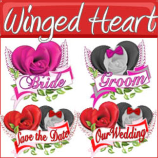 Winged Rose Hearts