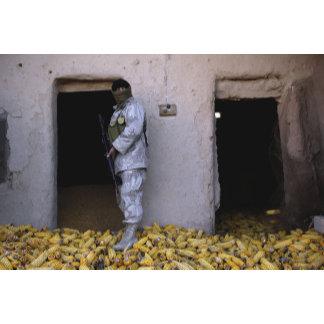 An Iraqi army soldier checks a storage room