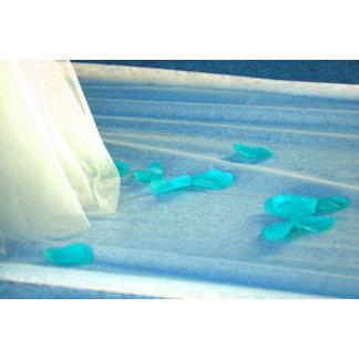 Blue Rose Petals Wedding Dress Train