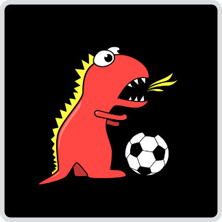 05 - Funny Cartoon Dinosaur Playing Soccer