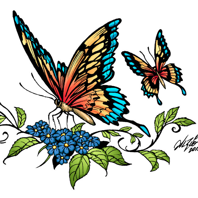 Butterfly and Butterflies Artwork by Al Rio