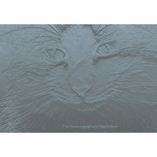 Embossed Look Blue Gray Cat Face