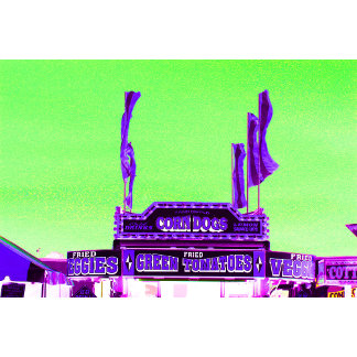 corn dog purple stand green spotty sky