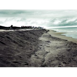 Beach cliffs somber