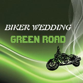 Biker wedding, green road